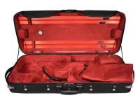 double case, for 2 violins, wood, 2 straps, black, red