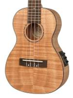 Concert ukulele, left-handed model, all flamed Okume with guitar mechanics, rosewood GB, Fishm