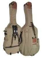 double bass bag 3/4, beige-brown, 23mm padding, deluxe, 2 straps, various accessory pockets