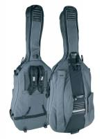 double bass bag 3/4, grey-black, 23mm padding, deluxe, 2 straps, various accessory pockets